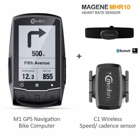 Pack Meilan M1 + Banda Cardiaca Magene + Meilan C1 sensor de cadencia